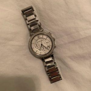 Michael Kors silver Parker watch NEEDS BATTERY